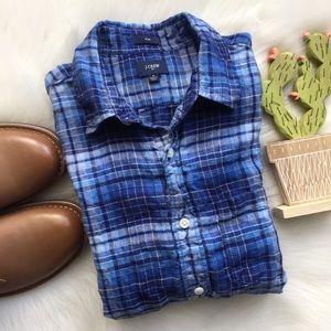 J. Crew Long Sleeve Button Down Linen Shirt Blue